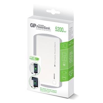 GP, Power Bank, GP352, Li-Ion, 5200mAh, nabíjení mobilních telefonů aj., 2xkonektor, bílý
