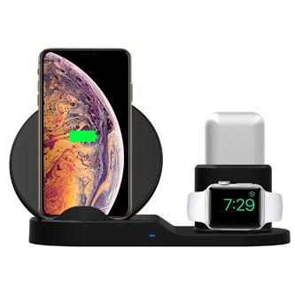 3v1 bezdrátová nabíječka, pro telefon, Apple Watch a Airpods, černá, 5/9V, 15W, Qi