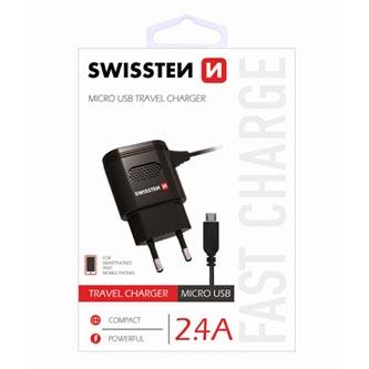 Síťová nabíječka, micro USB 2,4A, 100V - 240V, 5V, 2400mA, SWISSTEN, černá