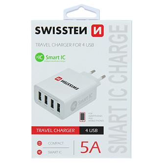 SWISSTEN, Síťový adaptér, 100-240V, 5V, 5000mA, nabíjení mobilních telefonů aj., bílý
