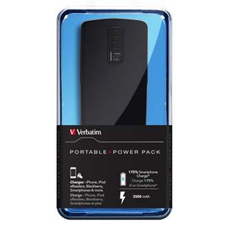 Verbatim, Power Bank, Portable Power Pack, Li-ion, 5V, 3500mAh, nabíjení mobilních telefonů aj., USB a micro USB konektor, černá