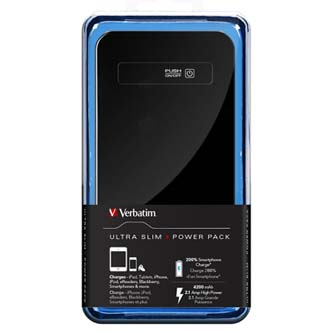Verbatim, Power Bank, Ultra slim portable, Li-pol, 5V, 4200mAh, nabíjení mobilních telefonů aj., USB a micro USB konektor