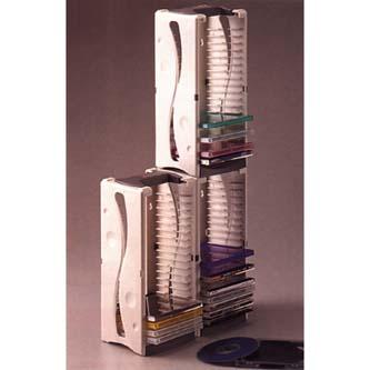 Box na 20 ks CD, šedý, věž, stohovatelný svisle i vodorovně