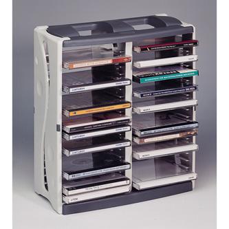 Box na 40 ks CD, šedý, věž, stohovatelný svisle i vodorovně