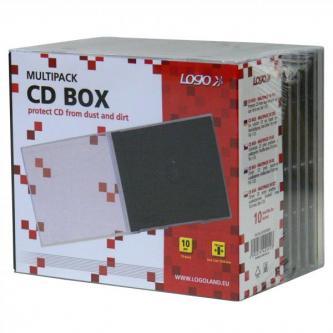 Box na 1 ks CD, průhledný, černý tray, Logo, 10,4 mm, 10-pack