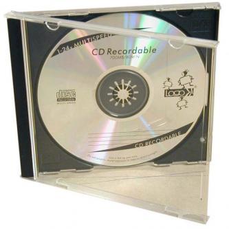 Box na 1 ks CD, průhledný, černý tray, Logo, 10,4 mm, 2-pack