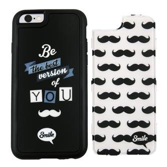 Kryty na iPhone 6/6S, černo-bílé, TPU, PC, Dress Me Hipster, 2v1, Smile