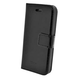 Pouzdro na iPhone 5, černé, polyuretan, kapsičky na karty, s podstavcem