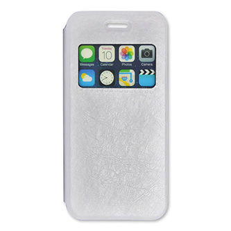 Pouzdro na iPhone 6, bílé, polyuretan, s okenkém