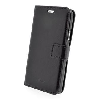Pouzdro na iPhone 6 Plus, černé, polyuretan, kapsičky na karty, s podstavcem