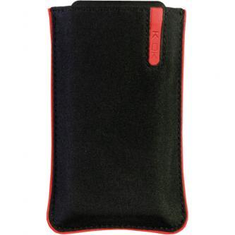 Pouzdro na mobil, černé, nylon, červený proužek, 10,5x4,5x1,5 cm