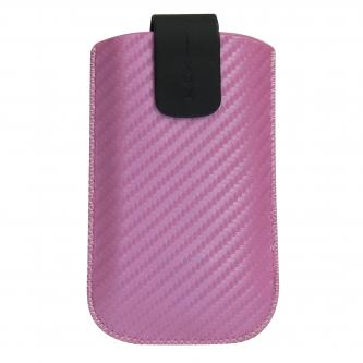 Pouzdro na mobil, růžové, karbon design, 110 x 55 x 20