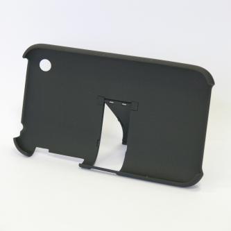 Kryt na iPhone, černý, plastový, pogumovaný, s integrovaným stojánkem