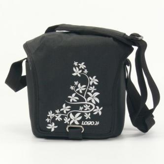 Taška na kameru, polyester, černá, Flower, suchý zip, 17x18x10 s popruhem přes rameno, Logo