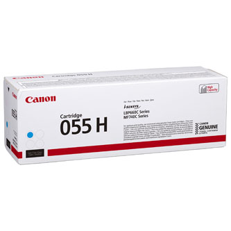 Canon originální toner 055CH, cyan, 5900str., 3019C002, high capacity, Canon MF742Cdw, MF744Cdw, MF746Cx, LBP663Cdw, LBP664Cx