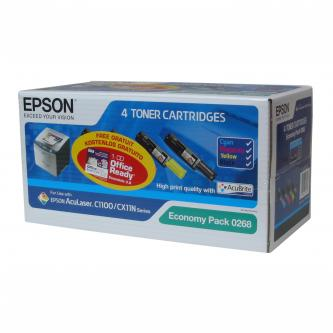 Epson originální toner C13S050268, CMYK, 4000/1500str., Epson AcuLaser C1100, 1100N, CX11N, 11NF, 11NFC, O