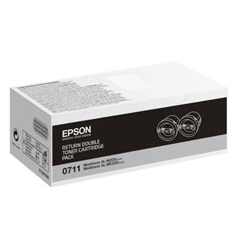 Epson originální toner C13S050711, black, 5000 (2x2500)str., return, Epson AcuLaser M200, MX200