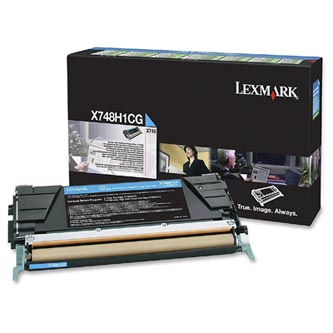 Lexmark originální toner X748H1CG, cyan, 10000str., return, high capacity, Lexmark X748DE, X748DTE