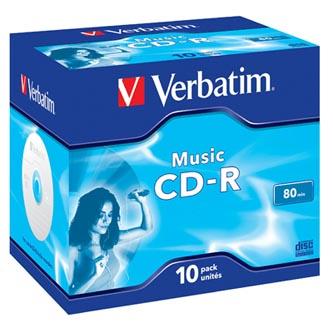 Verbatim CD-R, 43365, MusicLife PLUS, 10-pack, 700MB, 24x, 80min., 12cm, bez možnosti potisku, jewel box, Standard, pro archivaci