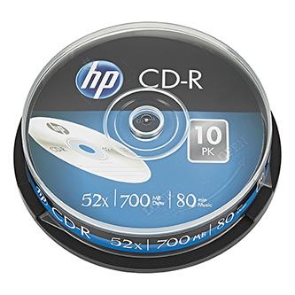 HP CD-R, CRE00019-3, 69308, 10-pack, 700MB, 52x, 80min., 12cm, bez možnosti potisku, cake box, Standard, pro archivaci dat