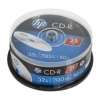 HP CD-R, CRE00015-3, 69311, 25-pack, 700MB, 52x, 80min., 12cm, bez možnosti potisku, cake box, Standard, pro archivaci dat