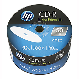 HP CD-R, CRE00070WIP-3, 69301, 50-pack, 700MB, 52x, 80min., 12cm, Printable, bulk, Standard, pro archivaci dat