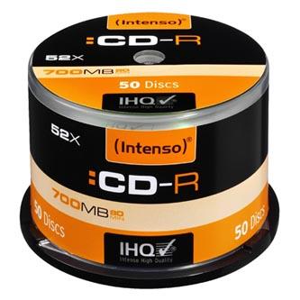 Intenso CD-R, 1001125, 50-pack, 700MB, 52x, 80min., 12cm, bez možnosti potisku, cake box, Standard, pro archivaci dat