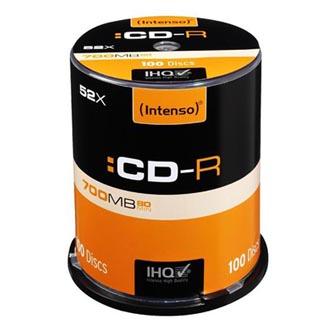 Intenso CD-R, 1001126, 100-pack, 700MB, 52x, 80min., 12cm, bez možnosti potisku, cake box, Standard, pro archivaci dat