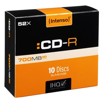 Intenso CD-R, 1001622, 10-pack, 700MB, 52x, 80min., 12cm, bez možnosti potisku, slim case, Standard, pro archivaci dat