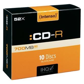 Intenso CD-R, 1001622, 10-pack, 700MB, 80min., 12cm, bez možnosti potisku, slim case, Standard, pro archivaci dat