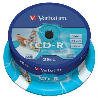 Verbatim CD-R, 43439, DataLife PLUS, 25-pack, 700MB, Super Azo, 52x, 80min., 12cm, Printable, cake box, Standard, pro archivaci da