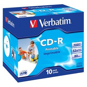 Verbatim CD-R, 43325, DataLife PLUS, 10-pack, 700MB, Super Azo, 52x, 80min., 12cm, Wide Printable, jewel box, Standard, pro archiv