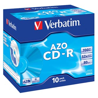 Verbatim CD-R, 43327, DataLife PLUS, 10-pack, 700MB, Super Azo, 52x, 80min., 12cm, Crystal, bez možnosti potisku, jewel box, Stand
