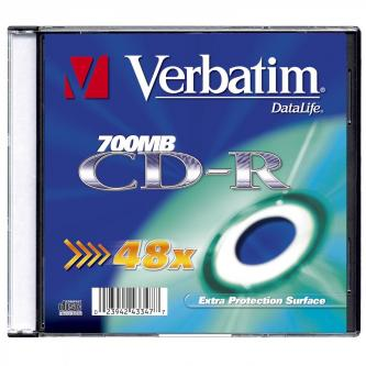Verbatim CD-R, 43347, DataLife, 200-pack, 700MB, Extra Protection, 52x, 80min., 12cm, bez možnosti potisku, slim box, Standard, pr