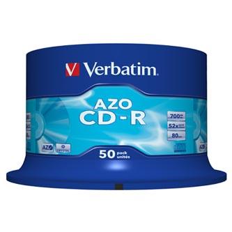 Verbatim CD-R, 43343, DataLife PLUS, 50-pack, 700MB, Super Azo, 52x, 80min., 12cm, Crystal, bez možnosti potisku, cake box, Standa