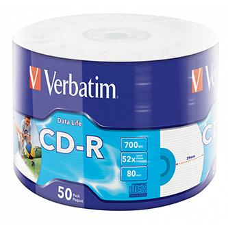 Verbatim CD-R, 43794, Inkjet Printable, 50-pack, 700MB, 50x, 12cm, wrap, pro archivaci dat