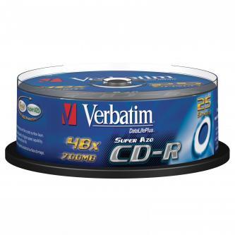 Verbatim CD-R, 43352, DataLife PLUS, 25-pack, 700MB, Super Azo, 52x, 80min., 12cm, Crystal, bez možnosti potisku, cake box, Standa