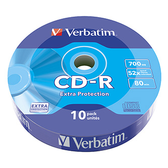 Verbatim CD-R, 43725, 10-pack, 700MB, Extra Protection, 52x, 80min., 12cm, wrap, Standard, pro archivaci dat