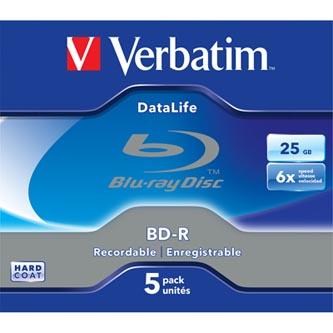 Verbatim BD-R, Datalife, 25GB, jewel, 43836, 6x, 5-pack
