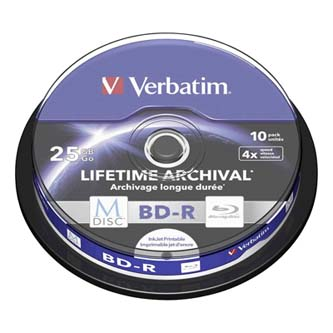 Verbatim BD-R, 25GB, cake box, 43825, 4X, 10-pack, pro archivaci dat