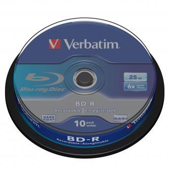 Verbatim BD-R, Single Layer 25GB, cake box, 43742, 6x, 10-pack, pro archivaci dat