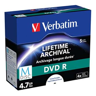 Verbatim M-Disc DVD R, 43821, 5-pack, GBGB, 4x, jewel box, pro archivaci dat