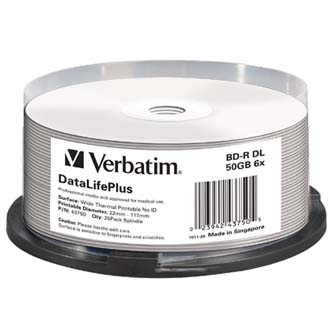 VERBATIM BD-R, DL+ Wide Thermal Printable No Id Surface Hard Coat, 50GB, spindle, 43750, 6x, 25-pack, pro archivaci dat