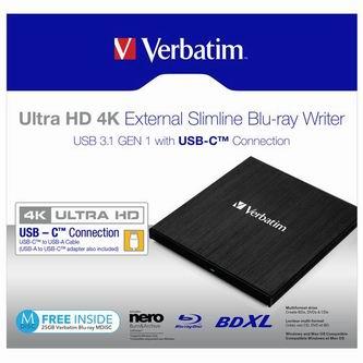 Verbatim externí Blu-Ray mechanika Ultra HD, 4K, 43888, USB 3.1 Gen1 (3.0), USB C