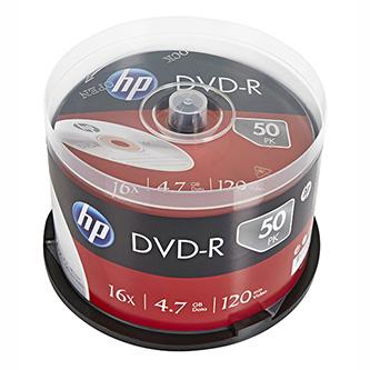HP DVD-R, DME00025-3, 50-pack, 4.7GB, 16x, 12cm, cake box, bez možnosti potisku, pro archivaci dat