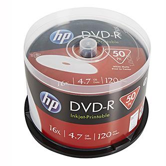 HP DVD-R, DME00025WIP-3, 50-pack, 4.7GB, 16x, 12cm, cake box, Printable, pro archivaci dat