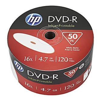 HP DVD-R, DME00070WIP-3, 50-pack, 4.7GB, 16x, 12cm, bulk, Printable, pro archivaci dat