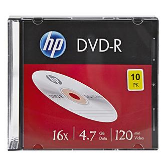 HP DVD-R, DME00085-3, 10-pack, 4.7GB, 16x, 12cm, slim case, bez možnosti potisku, pro archivaci dat