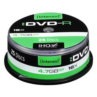 Intenso DVD-R, 4101154, 25-pack, 4.7GB, 16x, 12cm, Standard, cake box, bez možnosti potisku, pro archivaci dat
