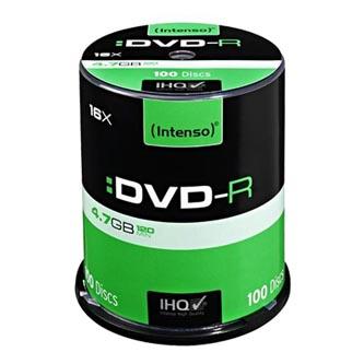 Intenso DVD-R, 4101156, 100-pack, 4.7GB, 16x, 12cm, Standard, cake box, pro archivaci dat